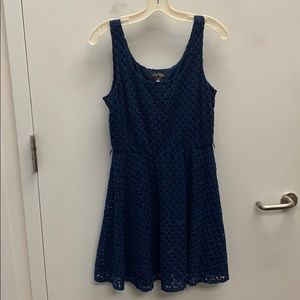 Lacey lined dress navy